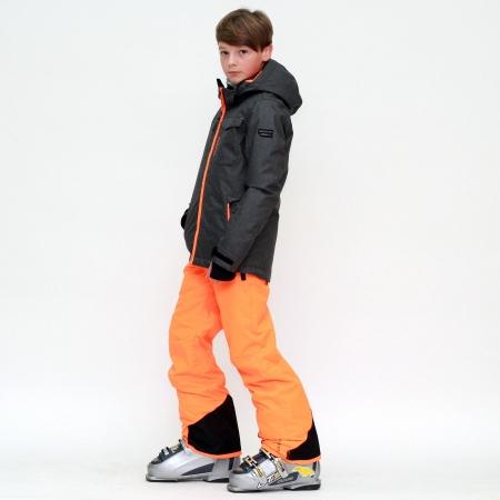 Chlapecký lyžařský komplet - bunda Malerto Dark Grey Melee a kalhoty Footstrap Fluo Orange