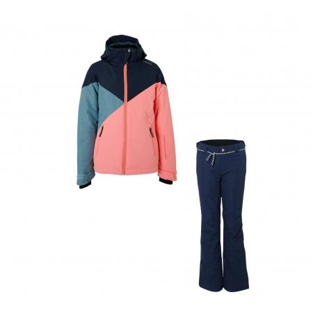 Dívčí lyžařský komplet bunda Sheerwater a kalhoty Sunleaf Space Blue