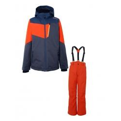 Chlapecký lyžařský komplet - bunda Dakoto Titanium a kalhoty Footstrap Fire