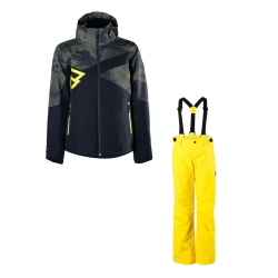 Chlapecký lyžařský komplet - bunda Pander a kalhoty Footstrap Cyber Yellow
