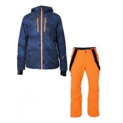 Pánský lyžařský komplet - bunda Zodiac a kalhoty Footstrap Fluo Orange